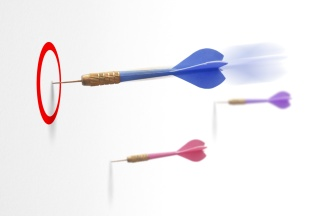 three darts symbol of strategy or business success