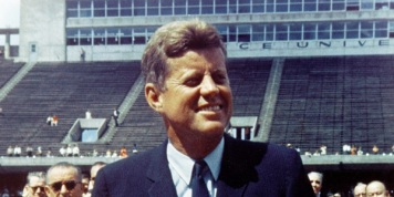 President Kennedy speaks before a crowd of 35,000 people at Rice University in the football field. The following are excerpts from his speech.